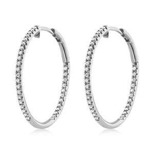 Diamond Hoop Earrings Medium White Gold