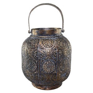 "NIVIK BLACK GOLD METAL LANTERN 6""Dia x 6.5""H +3.25""Handle"