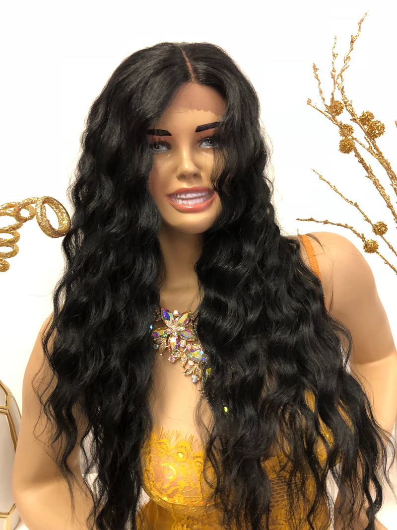 Black Waves Front Lace Wig | Long Soft Layered Hair | London