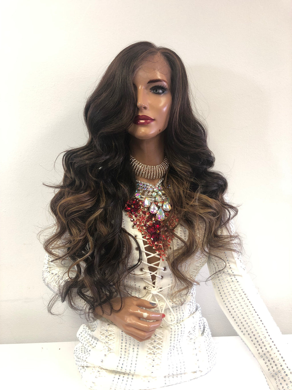 "Custom Red SWISS Lace Front Wig | 26"" Michaela 1118"