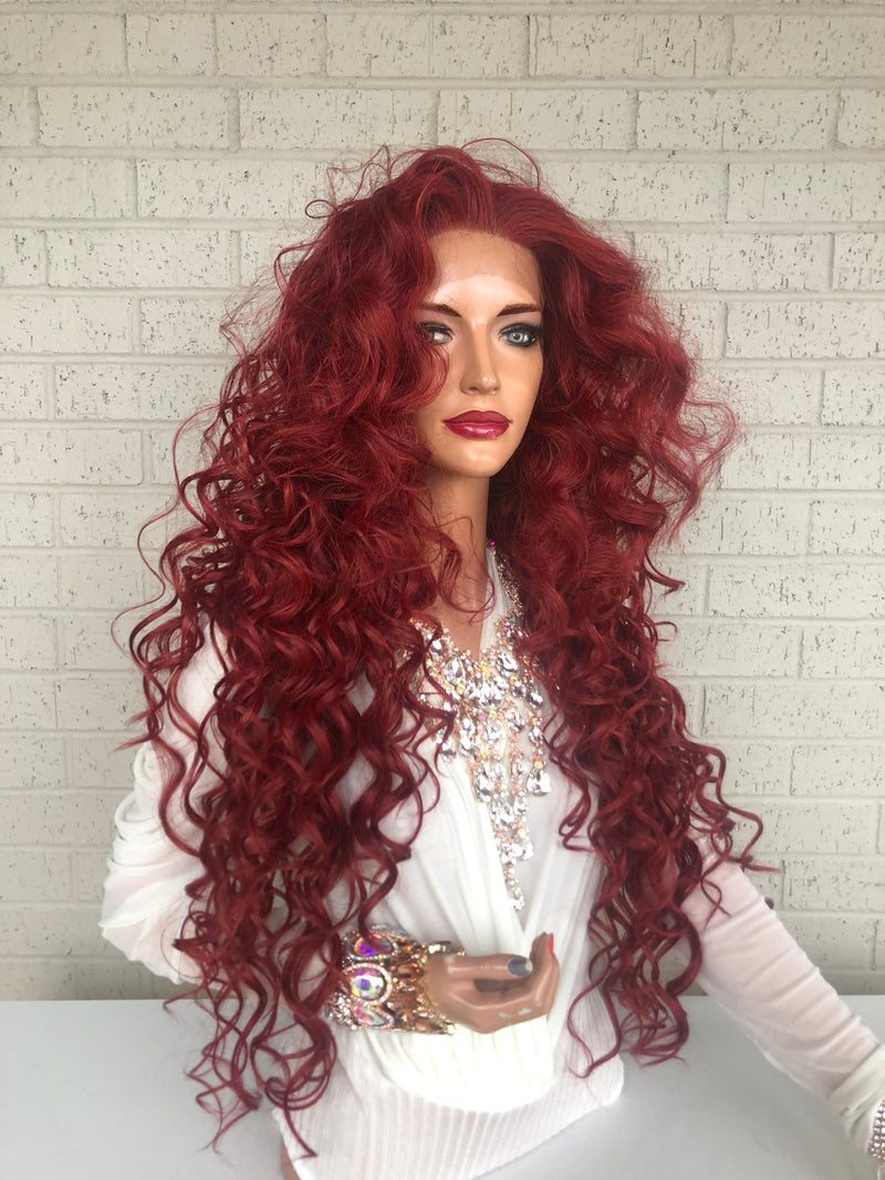 "Red Hair SWISS Lace Front Wig 26"" with 1"" Multiple Parting Victories 319 37"