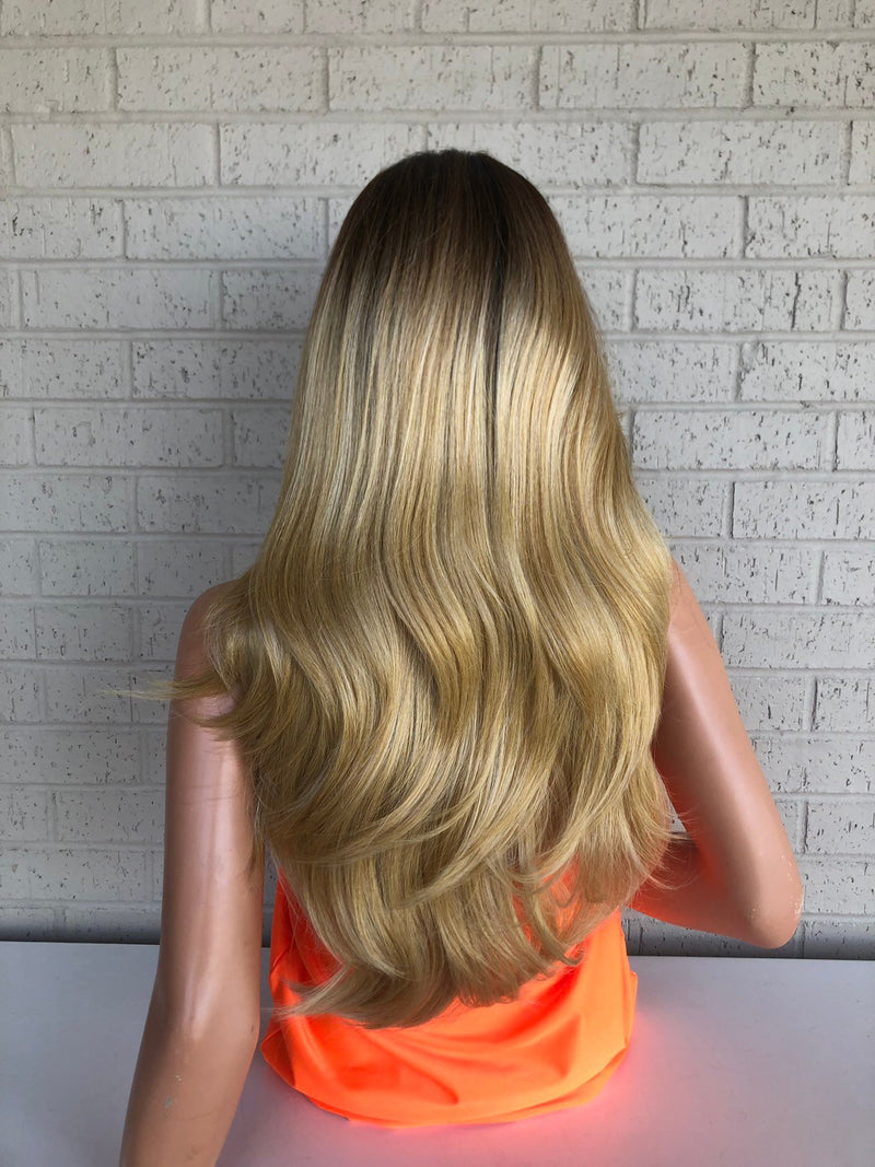Blonde Balayage Hair with Brown Ombré Roots 419 2