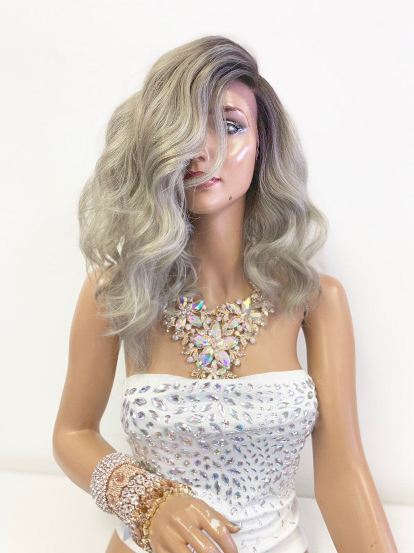"Ash Gray Ombré SWISS Lace Front Wig 10"" with deep 5"" parting 619"