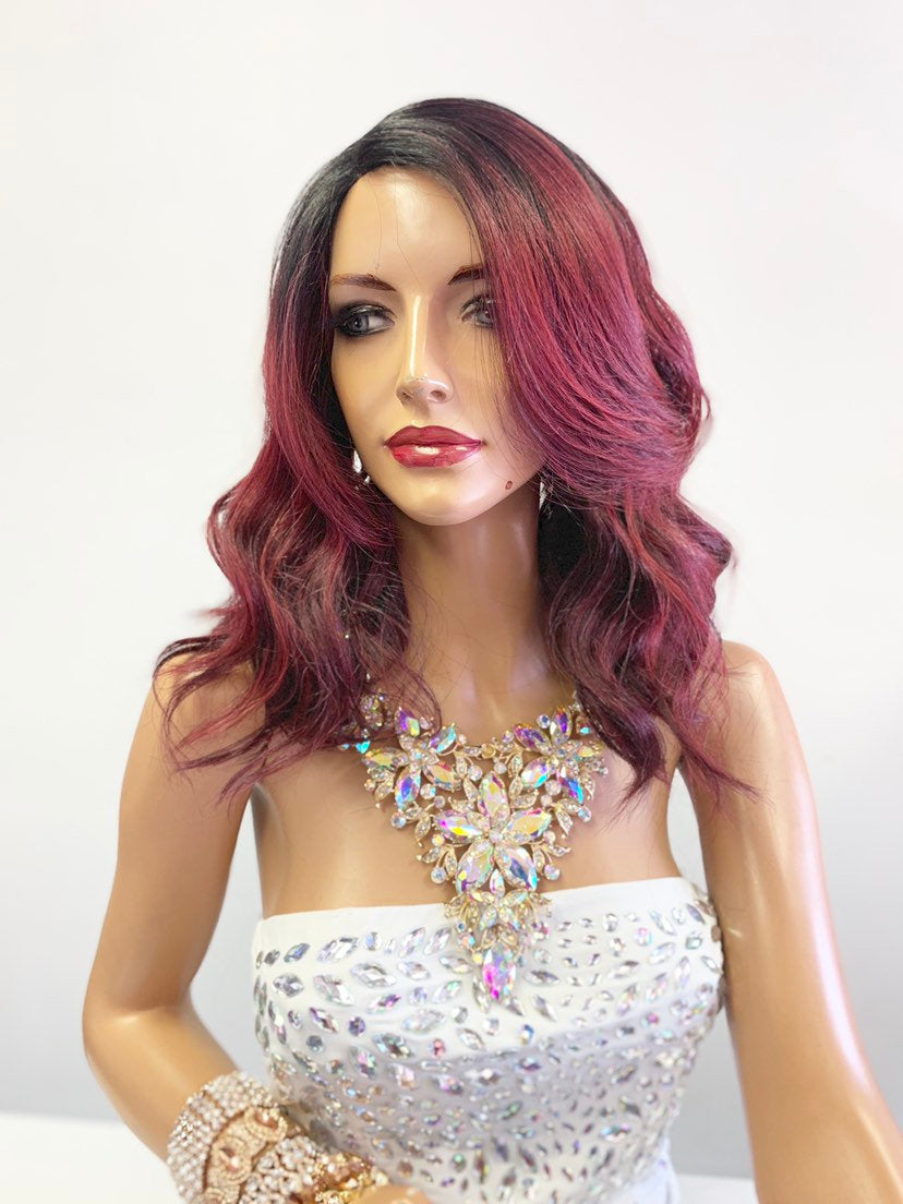 "Red Burgundy Ombré SWISS Lace Front Wig 10"" with deep ""c"" parting 619"