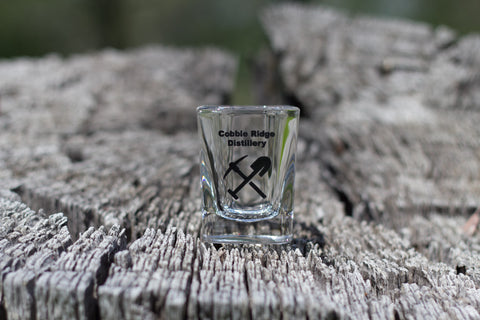 Shot Glass-Pick and Axe logo