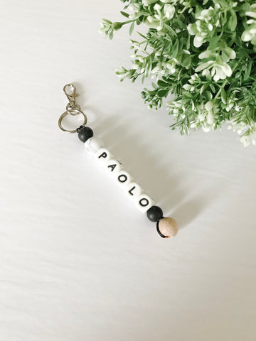 Personalized Key Chain/ Bag Clip with Wood Bead - Grace and Parker