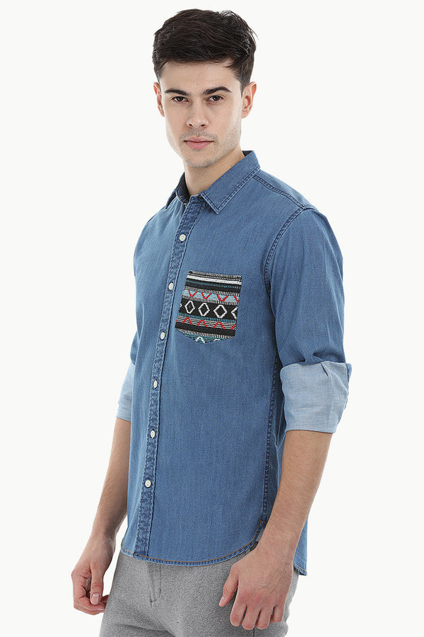 Aztec Pocket Denim Shirt