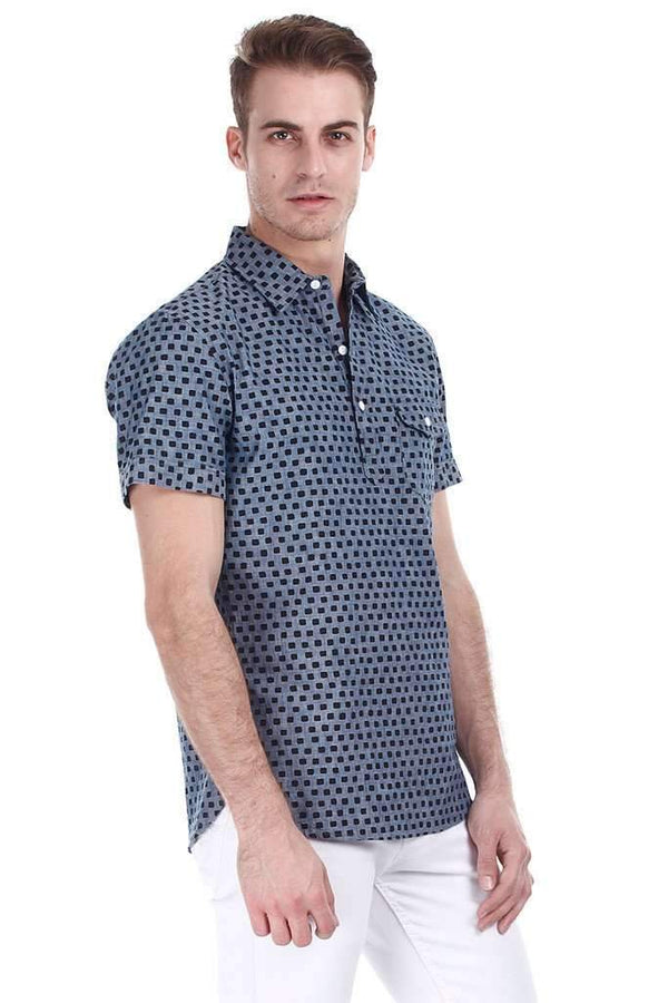 Square Print Mid Wash Denim Pullover Shirt
