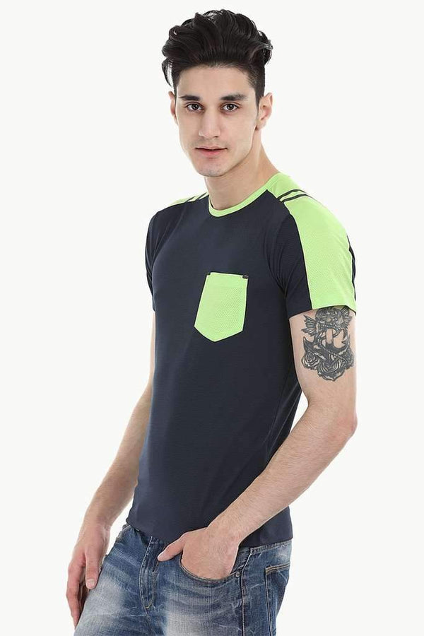 Neon Contrast Panel Performance Wear With Seamless Detail