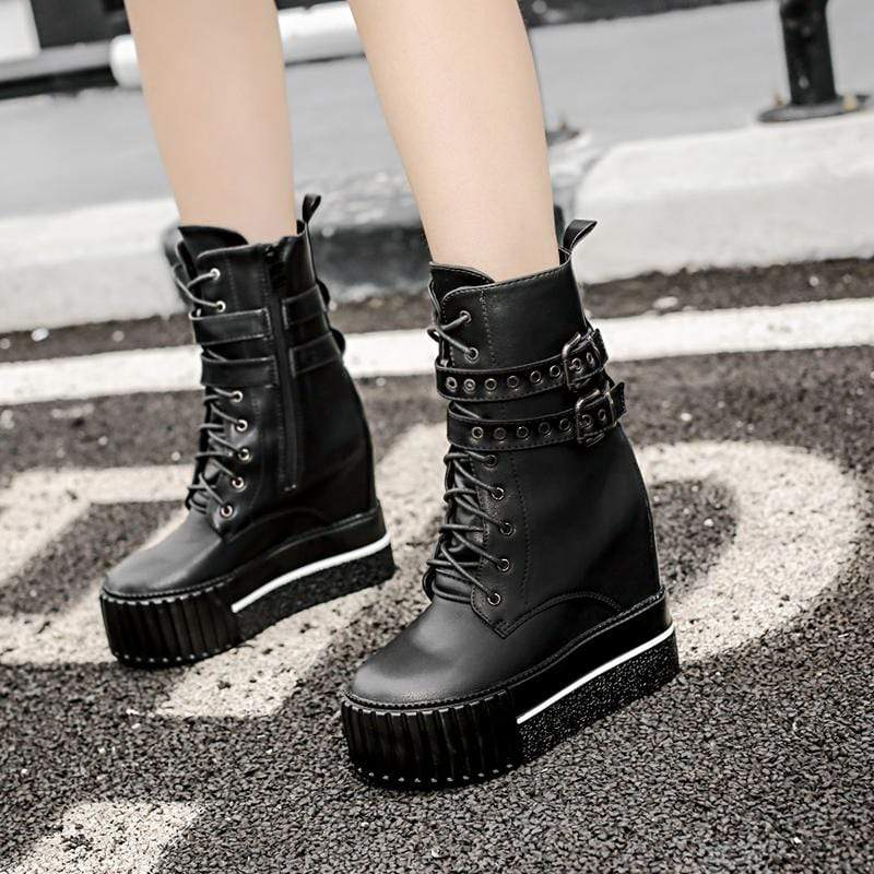 Womens High Platform Wedge Boots