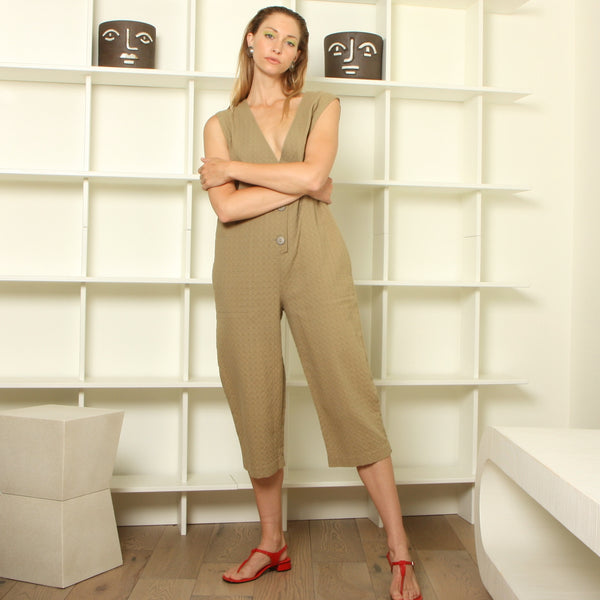 Vintage 80's Textural Cotton Crop Jumpsuit