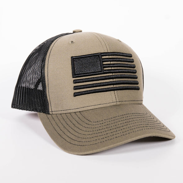 Embroidered American Flag Hat - OD Green/Black