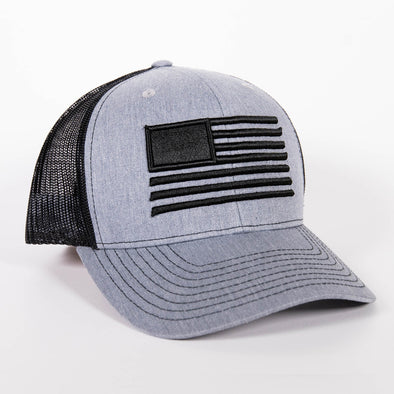 Embroidered American Flag Hat - Heather Grey/Black