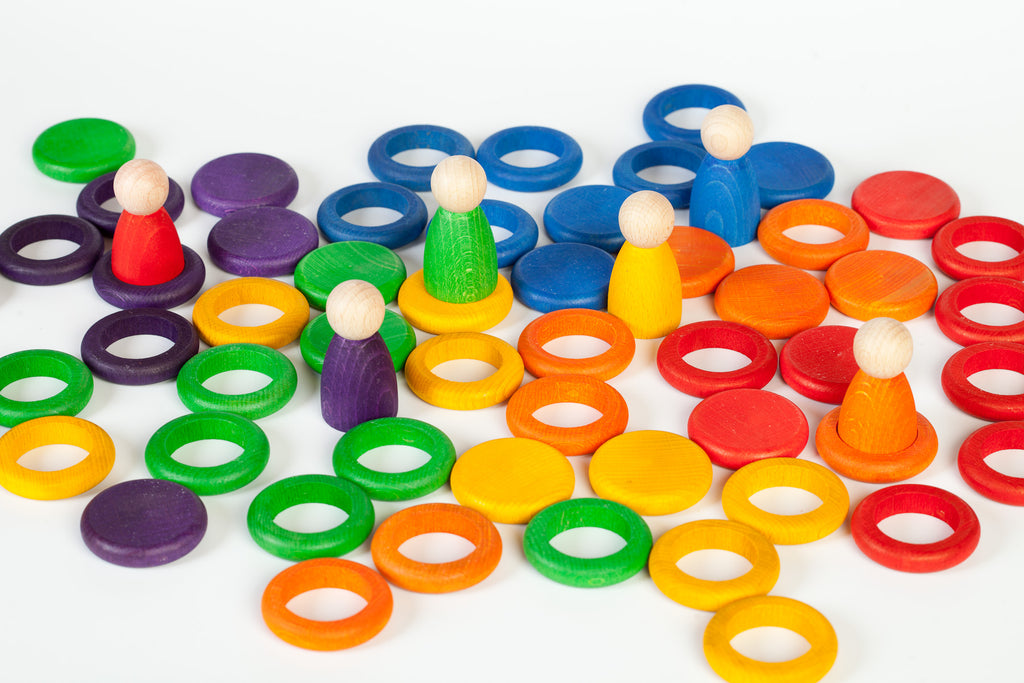 Nins, Rings, and Coins Set - 6 Rainbow Colours