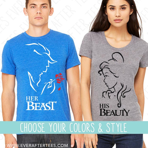 His Beauty Her Beast Matching T-shirts. Couples Matching Shirts for Disney .