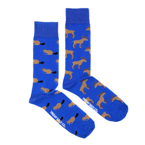 Moose and Beaver Blue socks, mismatched, designed in Canada, Made in Italy