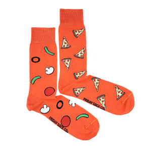 Red Pizza mismatched socks, ethically made in Italy, Designed in Canada
