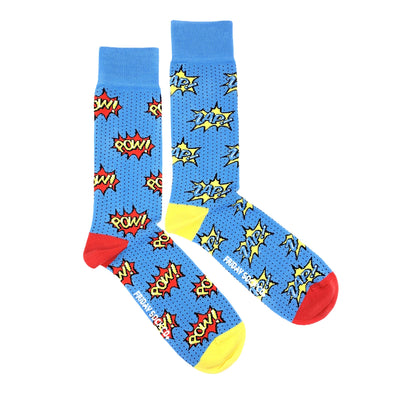 Blue Pow and Zap mismatched socks, ethically made in Italy, Designed in Canada