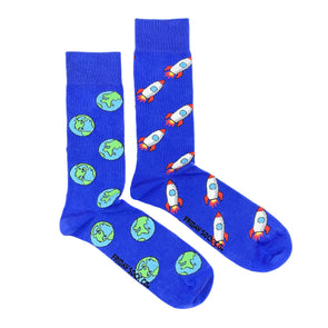 Blue Rockets and Earth mismatched socks, ethically made in Italy, Designed in Canada