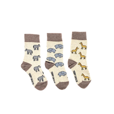 Safari socks, elephant, giraffe, zebra kids socks, 3 socks, ethically made in italy, designed in canada