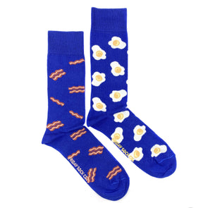 Blue bacon and eggs mismatched socks, ethically made in Italy, Designed in Canada