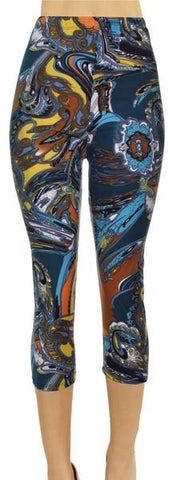 VIV Collection Signature Capri Leggings Ultra Soft Elastic YOGA High Waistband w/ Hidden Pocket