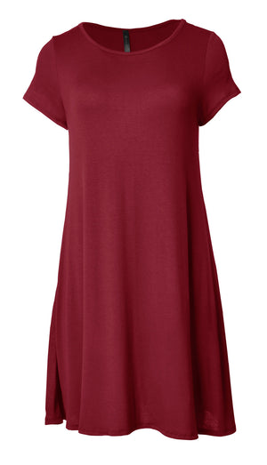 Short Sleeve Flare Hem Tunic Top