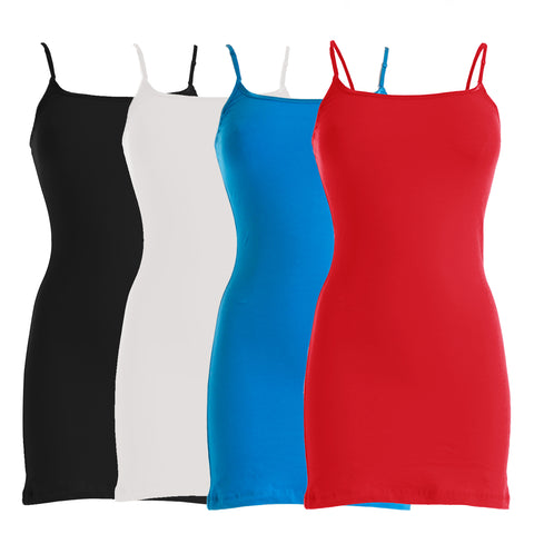 Plain Basic Cami Cotton Tank Top 4-Pack (Red/Red/Red/Red)