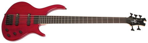 EPIPHONE TOBY DELUXE V BASS GUITAR, TRANSLUCENT RED | Zoso Music