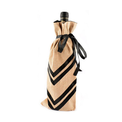 Black, beige bottle bags - Chevron in Satin