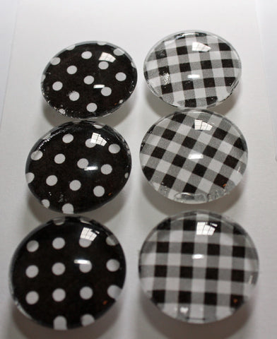 Black and White Glass Gem Super Strong Magnets