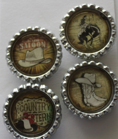 Cowboy Boots and Hats Flat Bottle Cap Super Strong Magnets