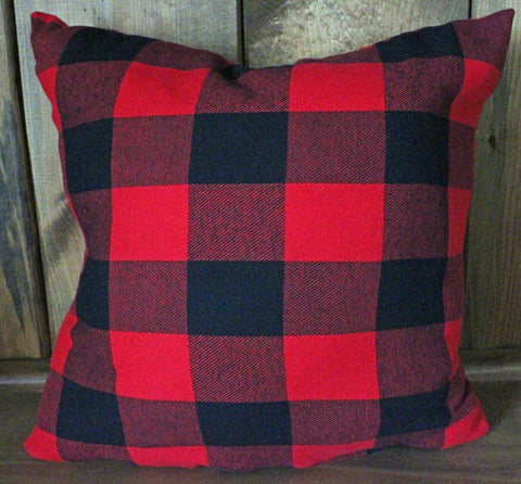 Buffalo Black and Red Check Flannel Pillow
