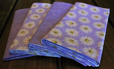 Handmade White Daisies on Lavender Reversible Cloth Napkins