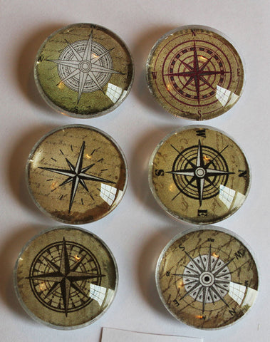 Which Way Compass Glass Gem Super Strong Magnets