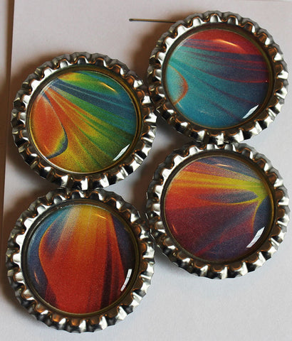 Bright Cosmos Flat Bottle Cap Super Strong Magnets