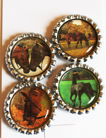Awesome Horses Flat Bottle Cap Super Strong Magnets