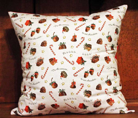 Christmas Tis the Season to Eat Candy Cotton Throw Pillow Cover