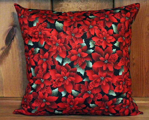 Deep Red Christmas Poinsettia Cotton Throw Pillow Cover