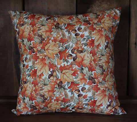 Acorns and Leaves Cotton Throw Pillow Cover