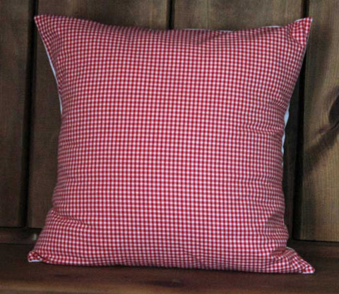 Retro Red Checked Gingham Cotton Throw Pillow Cover
