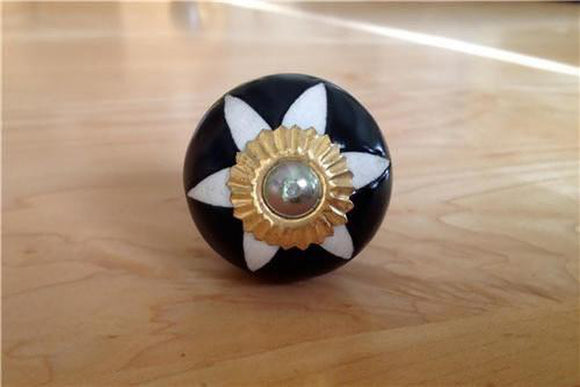 Black and White Porcelain Etched Star Cabinet Knobs Dresser Drawer Pulls-Dwyer Home Collection