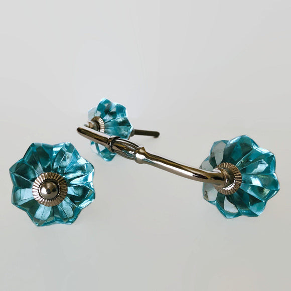 Aqua Blue Glass Flower Cabinet Knobs Dresser Drawer Handles-Dwyer Home Collection