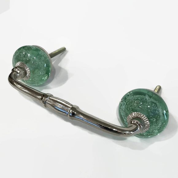 Mint Green Glass Bubble 4 Inch Cabinet Handles Pulls Slim Style-Dwyer Home Collection