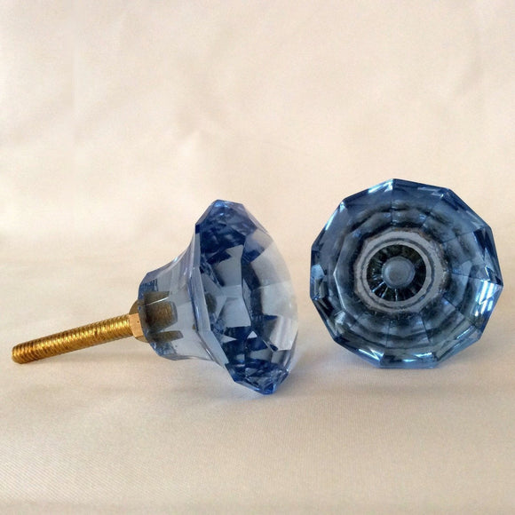 Cool Blue Diamond Cut Glass Cabinet Knobs Dresser Drawer Pulls-Dwyer Home Collection
