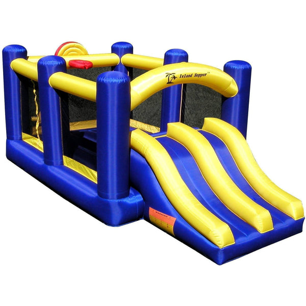 Racing Slide and Slam Bounce House-Island Hopper-YardKid