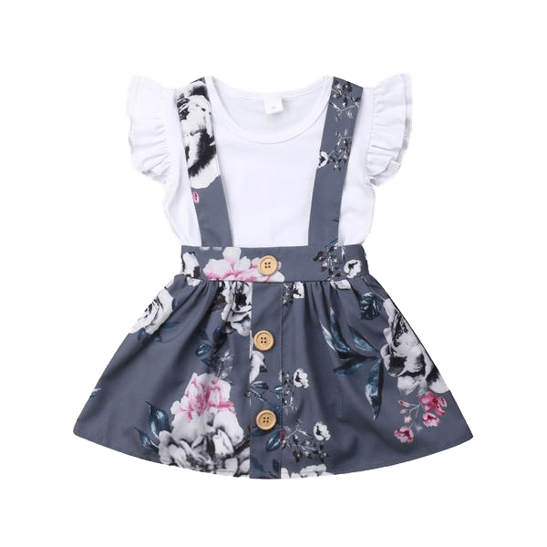 Petite Bello Clothing Set 0-6 Months Floral Suspender Skirt Dress Set