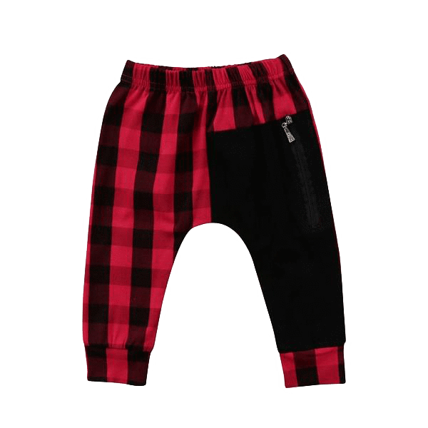 Petite Bello ROMPER Red / 1-2T Plaid Patchwork Pants