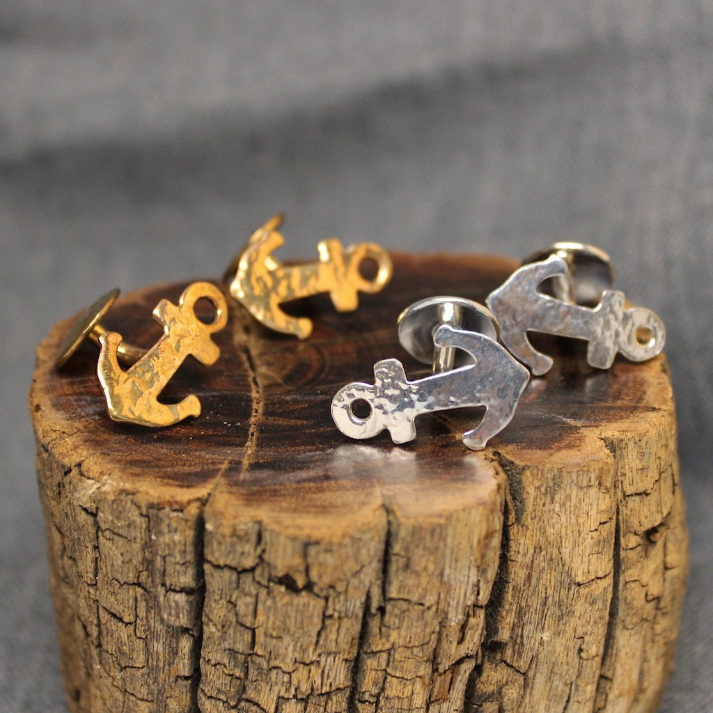 Anchor Jewelry - Cufflinks shaped like anchors available in brass and sterling silver