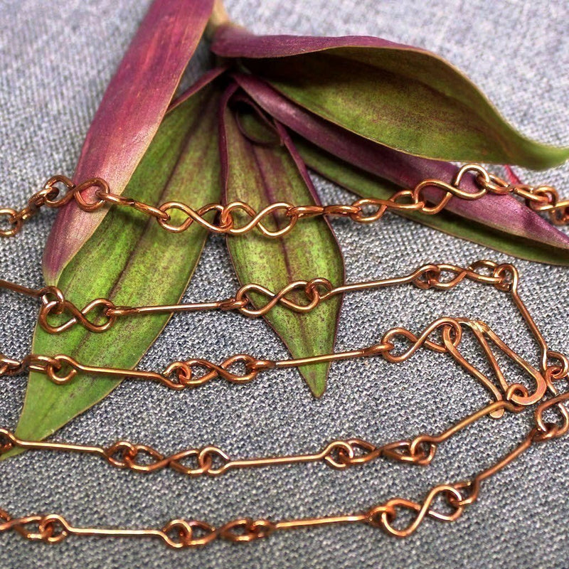 Copper chain with infinity design.